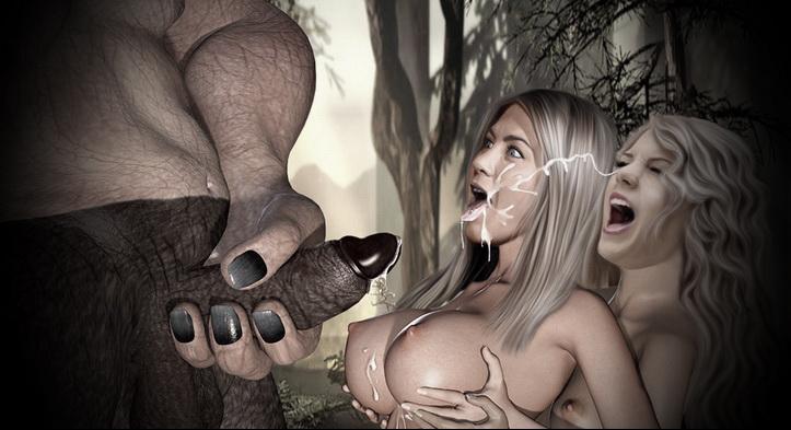 Lesbians and huge monster
